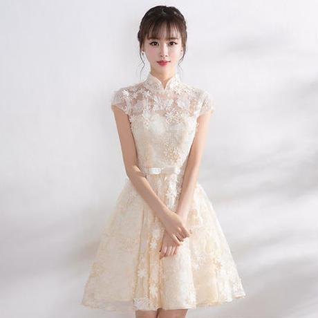 大人かわいい パーティー レース 結婚式 二次会 衣装 ドレス