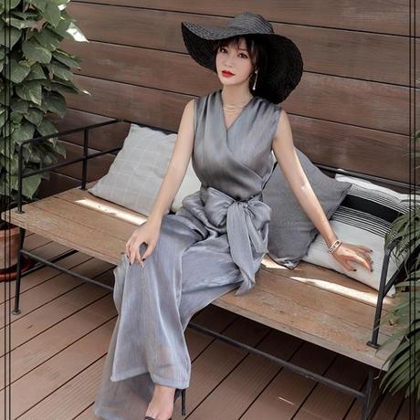ジャンプスーツ ワイドパンツ カシュクール 結婚式 パーティー  二次会 お呼ばれ ドレス