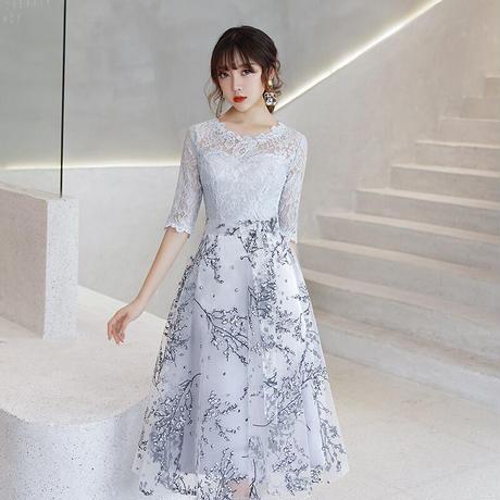 花柄 刺繍 上品 レース お呼ばれ 全2色 ドレス