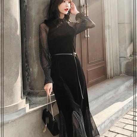 シースルー グリッター 裾切替 ベルベット ワンピ ドレス