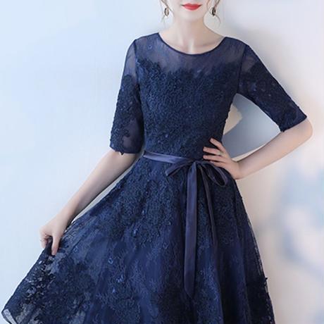 レース チュール ネイビー 花柄 刺繍 フレア 大人 ワンピース ドレス