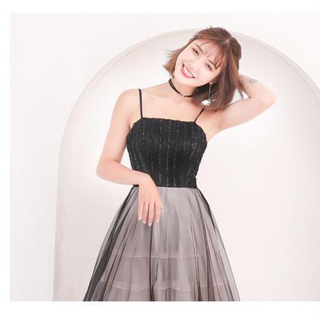 清涼感 チュール 綺麗目  エレガント  パーティ 二次会 ワンピース ドレス