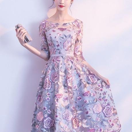 ポートネック  花柄 五分袖 二次会   ミモレ丈 結婚式 パーティー ドレス