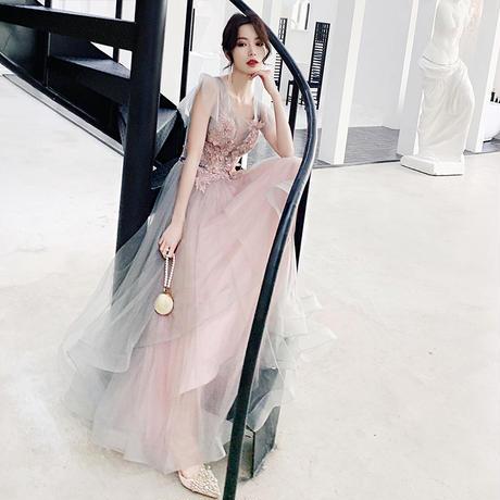 ロングチュール エレガント 花柄 刺繍 お呼ばれ 結婚式 パーティー ドレス