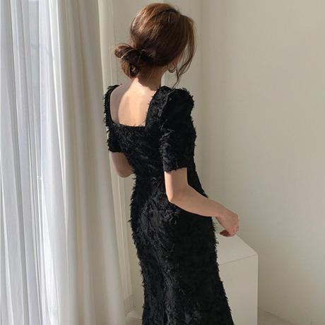 スクエアネック  Aライン ジャガード パーティー デート ドレス
