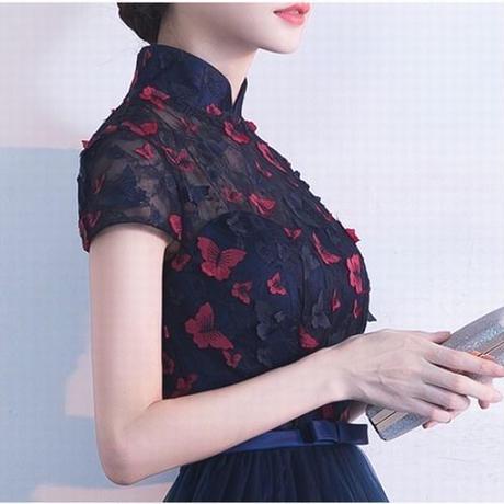 フィッシュテール バタフライ 刺繍 チャイナ風 パーティー ワンピース ドレス  結婚式 二次会