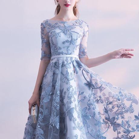 花柄 五分袖 レース  結婚式 二次会 パーティー お呼ばれ ドレス