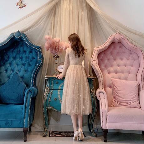 シンプル ノースリーブ ゴージャス キラキラスカート ワンピ ドレス