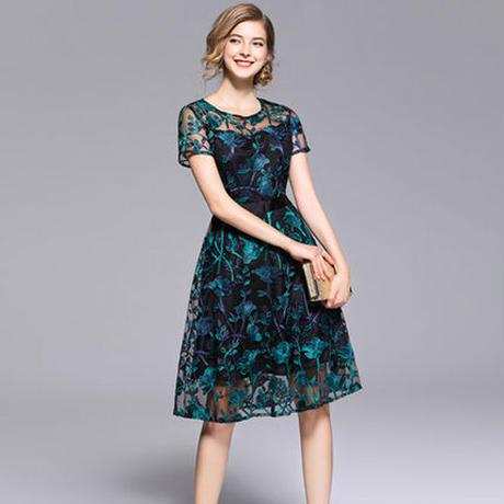 刺繍 花柄 フレア  大人 半袖 シースルー  フェミニン パーティー ドレス