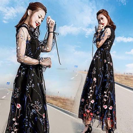 シースルー 花柄 刺繍  リゾート ロング ワンピース パーティー ドレス