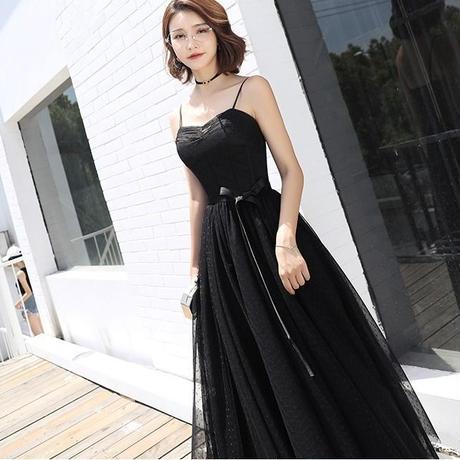 かわいい x かっこいい 黒水玉 ドレス リボン ワンピース