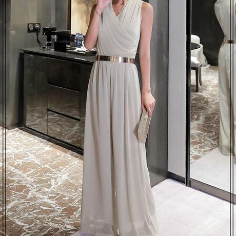 ジャンプスーツ 結婚式 パーティー  ワイドパンツ カシュクール お呼ばれ ドレス