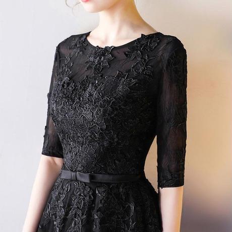 パーティードレス 結婚式 ドレス 袖あり 二次会 ドレス ウェディングドレス ミモレ丈 二次会ドレス ワンピース パーティドレス 披露宴 お呼ばれ 黒ドレス
