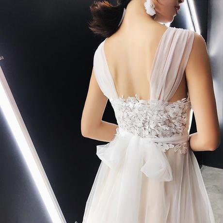 花嫁 パーティードレス バックリボン 結婚式 ウエディングドレス