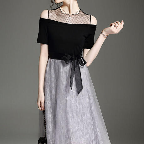 バイカラー 切替 上品  フェミニン 結婚式 お呼ばれ 二次会 パーティー ドレス