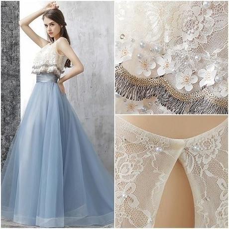 レースとチュールのロマンチックドレス
