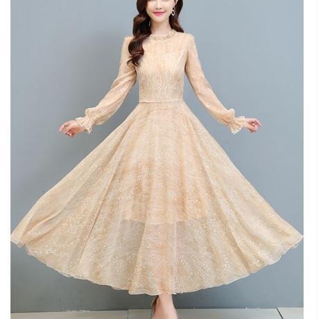 Aライン ボタニカル レース 透け感 刺繍  ロング丈 長袖 ワンピース 結婚式 二次会 お呼ばれ パーティー ドレス