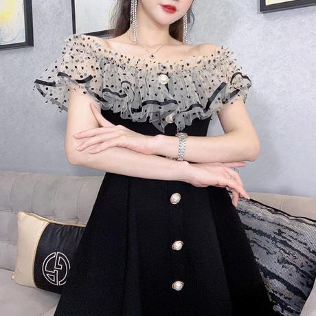 ドット柄 タートル オフショル Aライン ドレス