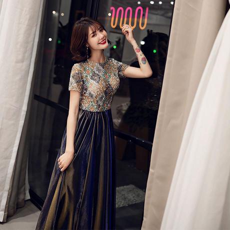 花柄 ロング ドレス パーティー 結婚式 お呼ばれ 演奏会