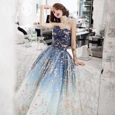 ベアトップ 大人かわいい スタイル ゴールドラッシュ柄 ロングドレス