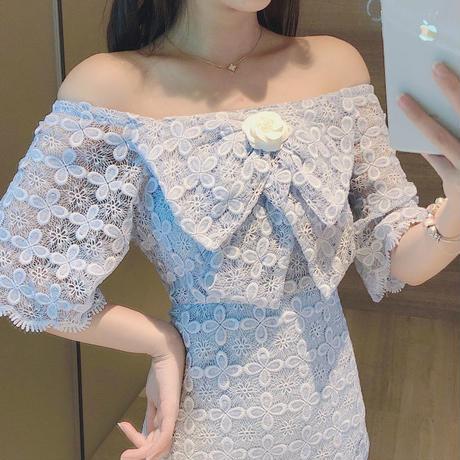 カメリア リボン 花柄 レース ドレス