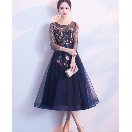 花柄 刺繍 ミモレ丈 シースルー ミディアムドレス
