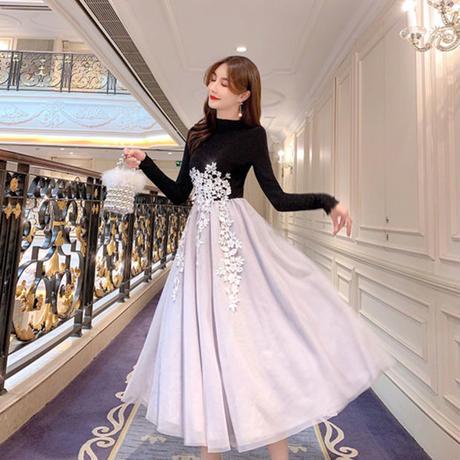 ツートーン チュール カットフラワー ドレス