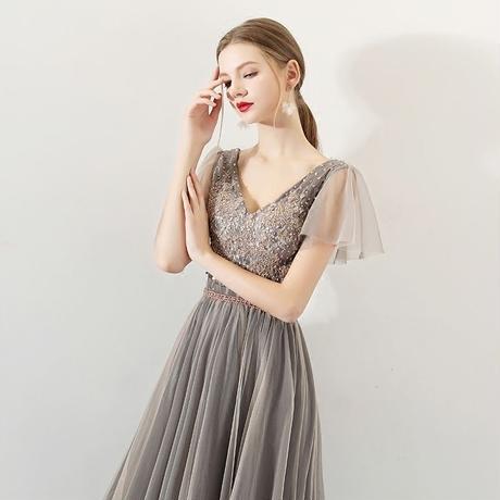 ロング ドレス ふんわり袖 パーティ  シャンパン