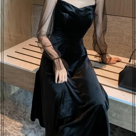 異素材ミックス ベルベット シースルー ワンピ パーティー ドレス