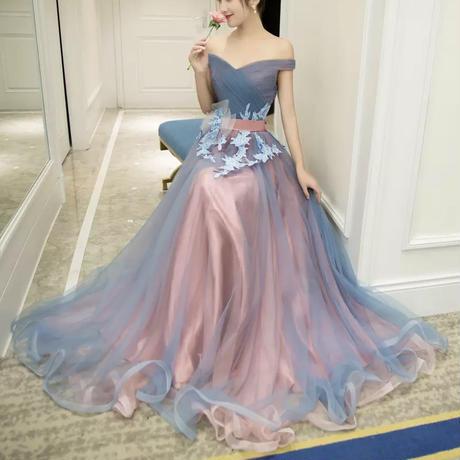 Aライン オフショルダーマキシ丈 花柄 刺繍ドレス エレガント ドレス