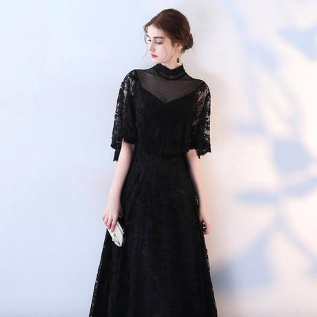 袖あり ブラック  結婚式 ドレス  二次会 ドレス  パーティードレス