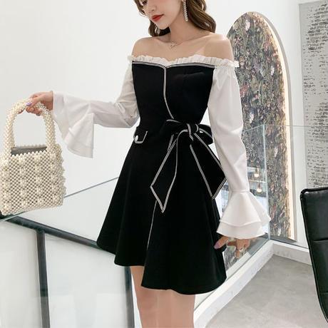 フリル オフショル モノトーン ドレス
