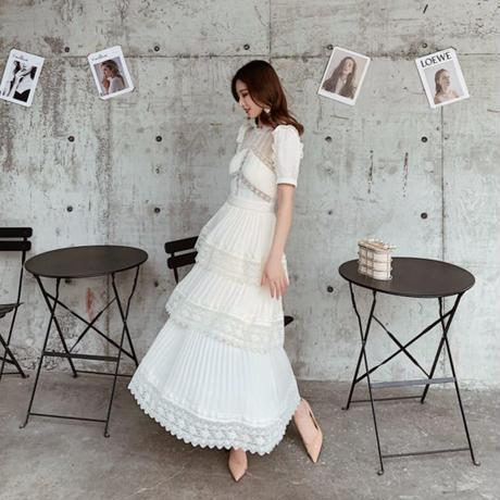パフスリーブ シフォン ロング ドレス