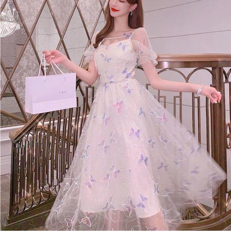 バタフライ刺繍 レース ロング パーティー ドレス