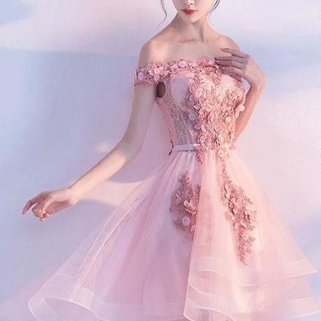 ピンク レース チュール ショート ドレス、オフショルダー アップリケ