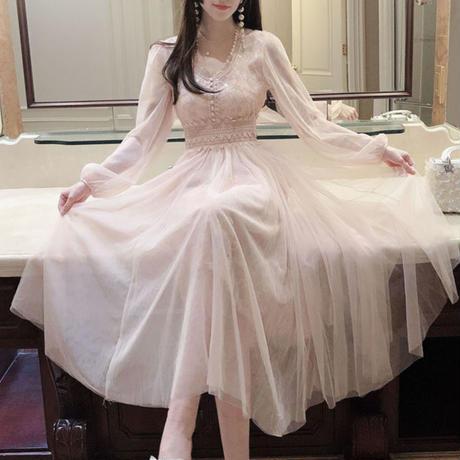 スター レース チュール ロング ドレス
