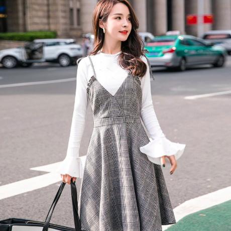韓流 女性 ノースリーブ ワンピース ドレス