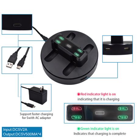 switch 充電ドック ステーション LED 充電スタンド ホルダー 任天堂 コンソール用 マイクロ Usb