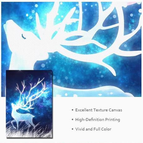 お洒落な壁掛けアートパネル3点セット / 各40×60cm 鹿 ファンタジー 夜空 星 ポスター 絵画 ファブリックパネル
