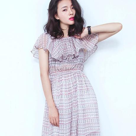韓流 ファッション フリル オフショル ワンピース