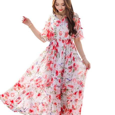韓流 ファッション 女性 花柄 プリントロングドレス レディース ワンピース