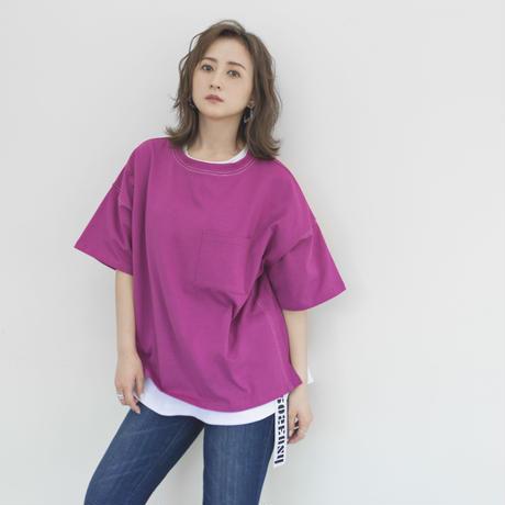 #005 ポケット付きステッチT (Pink)