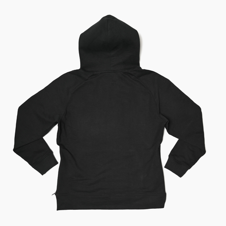 Pullover Side Zip Hooded Sweatshirt  Black  19S-103