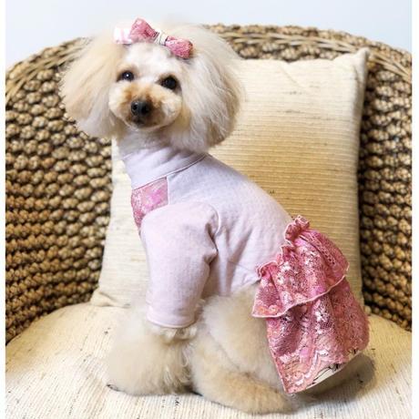 ピンクレース×バティックの長袖ワンピース✨