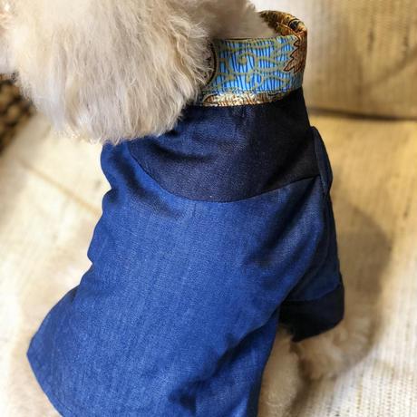バティック×デニムの長袖シャツ