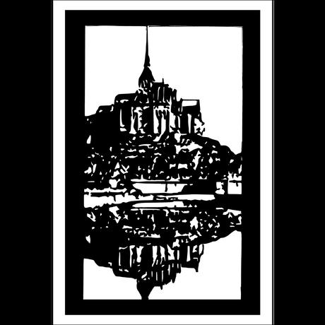 ポストカード「モン・サン・ミッシェル」切り絵
