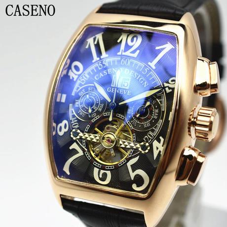 caseno 自動巻き 機械式腕時計 クロノグラフ メンズ 革バンド  トゥールビヨン ローズ