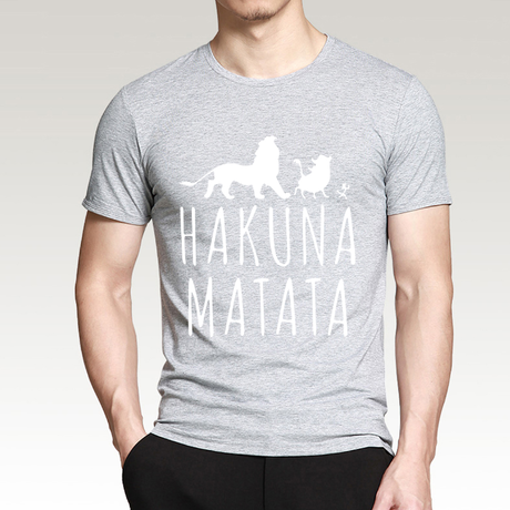ハクナマタタ メンズ Tシャツ 夏綿 100%の高品質 TシャツスリムフィットカジュアルTシャツ ライオンキングトップス(グレー2)