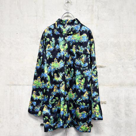 multi pattern satin pajamas shirt