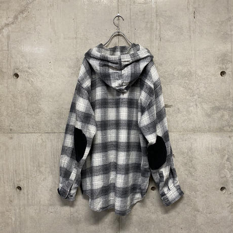 90's ON THE BRINK  hooded flannel shirt
